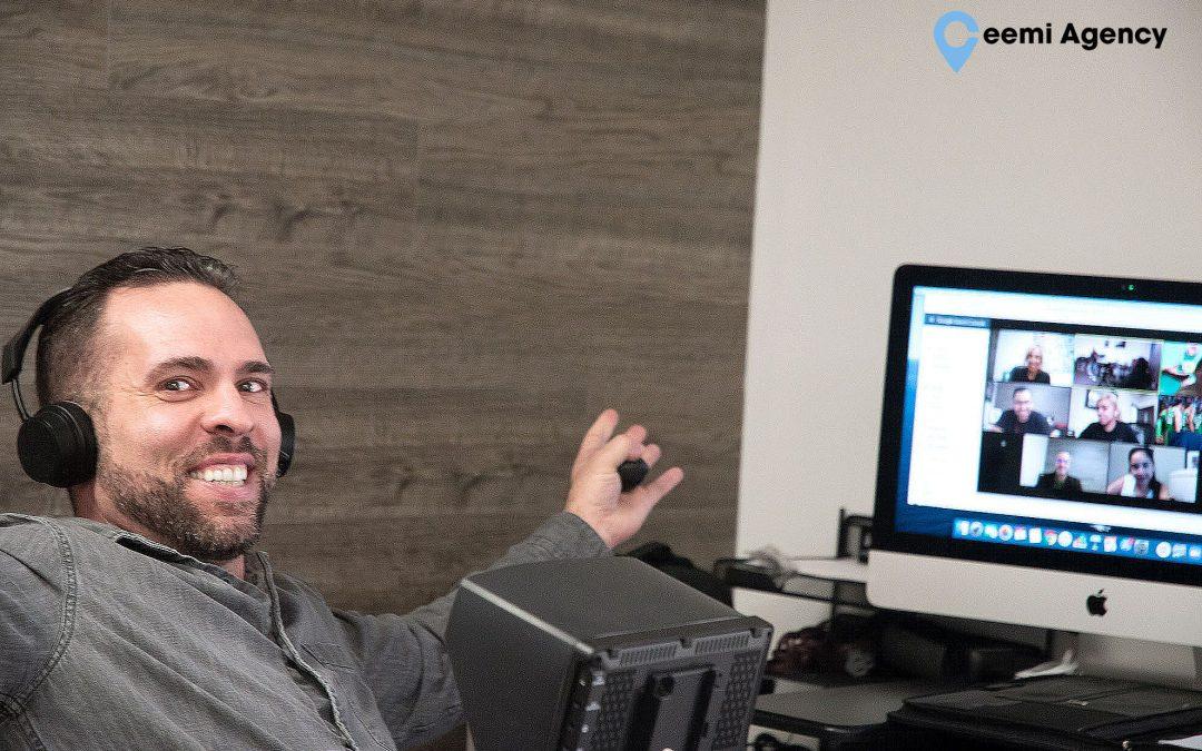 Ceemi Agency Employee on Zoom Meeting with Marketing Team