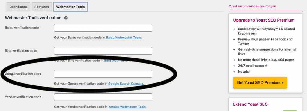 Yoast, Google Search Verification
